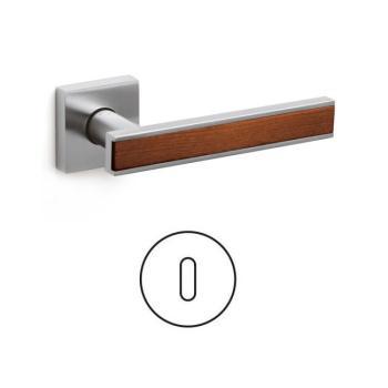 Maniglia per porta serie Edge Olivari rosetta bocchetta quadrata foro normale Ottone + Legno / Cromato Opaco + Ciliegio