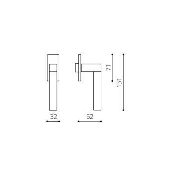 Maniglia per finestra Olivari serie Pitagora Q DK basso Ottone Cromato Opaco