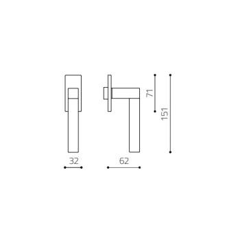 Maniglia per finestra Olivari serie Pitagora Q DK basso Ottone SuperInox Satinato