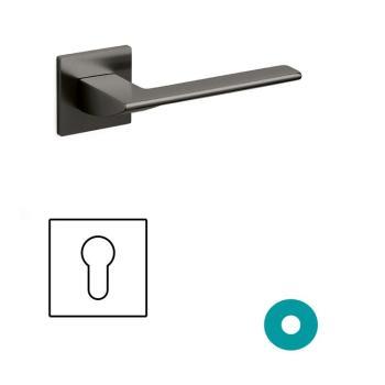 Maniglia per porta Olivari serie Trend con rosetta e bocchetta bassa quadrata foro yale Ottone SuperAntracite Satinato