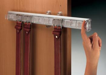 Porta cinture estraibile 8 posti con capacità da 8 a 16 cinture 500 mm trasparente + Alluminio lucido