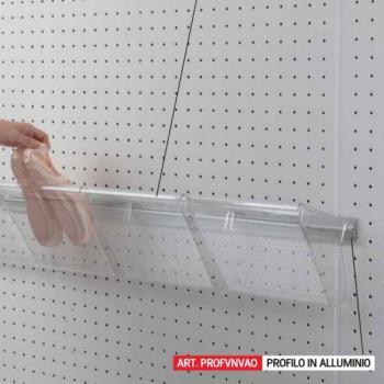 Profilo in alluminio per Vaschetta portascarpe-portaoggetti in policarbonato trasparente mm 1080