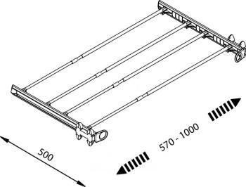 Telaio multifunzione estraibile Servetto non completo di accessori Alluminio Trasparente 570-1000 mm