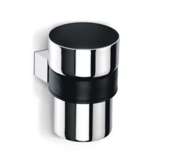 Bicchiere Portaspazzolino da appoggio Valli Arredobagno serie Belt C 8331 Pelle Nera