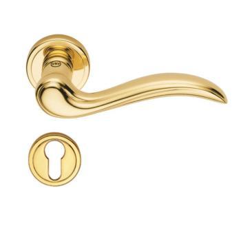 Maniglia per porte Valli e Valli serie Altair H 174 rosetta bocchetta foro yale Oro Lucido