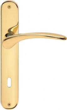 Maniglia per porta interna con placca Valli & Valli serie H 198 Mizar foro normale Oro lucido