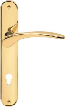 Maniglia per porta interna con placca Valli & Valli serie H 198 Mizar foro per cilindro Oro lucido