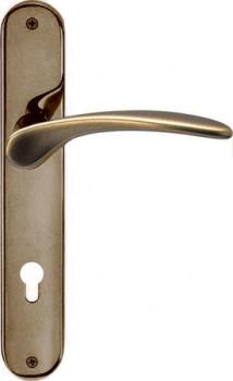 Maniglia per porta interna con placca Valli & Valli serie H 198 Mizar foro cilindro Anticato