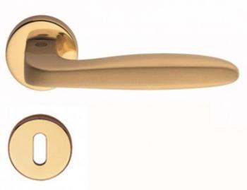 Maniglia per porta Valli & Valli H 1022 serie Ernani con rosetta bocchetta foro normale Oro lucido / Oro satinato
