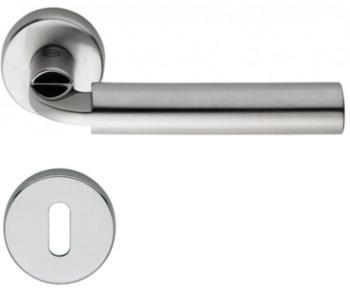 Valli & Valli serie H 1026 Dido Maniglia per porta interna rosetta bocchetta tonda foro normale cromo + cromo satinato
