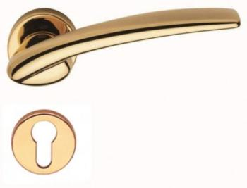 Maniglia per porta Valli & Valli H 1027 serie Dafne con rosetta bocchetta foro yale oro lucido