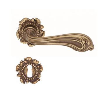 Valli & Valli serie H 120 Luigi XV Maniglia per porta interna rosetta bocchetta foro normale Ottone naturale antico