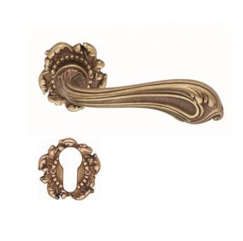 Valli & Valli serie H 120 Luigi XV Maniglia per porta interna rosetta bocchetta foro per cilindro Ottone naturale antico