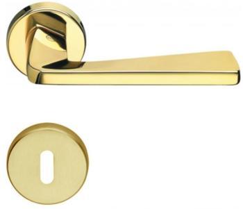 Valli & Valli serie H 1039 Fedra Maniglia per porta interna rosetta bocchetta tonda foro normale oro + oro lucido