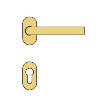 Maniglia per porta Valli & Valli serie Indigo H 417 con rosetta e bocchetta ovale foro yale Oro Lucido