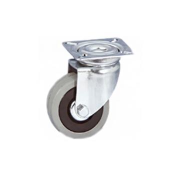 Ruota gomma grigia a snodo piastra girevole Altezza 155 mm Diametro 125 mm Portata 100 kg