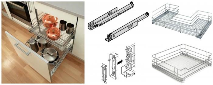 Cesti per mobile base carrelli ad estrazione frontale - Carrello estraibile per cucina ...