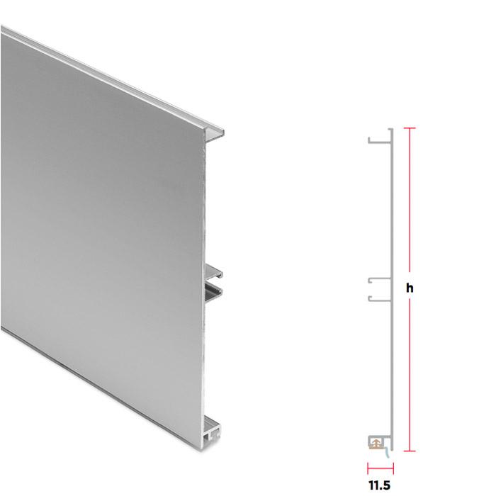 Zoccolo in alluminio liscio opaco Altezza 150 mm barre da 4000 mm ...