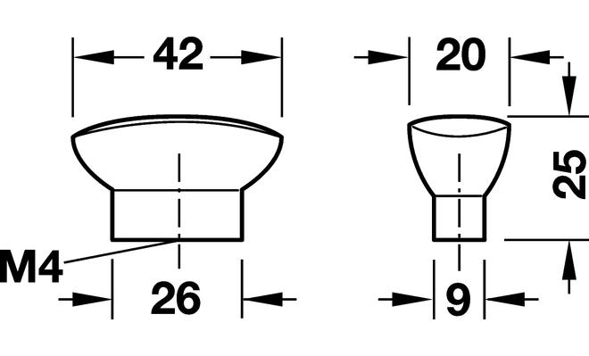 Pomello per mobile moderno 42 x 25 mm tuttoferramenta for Maniglie per mobili moderni