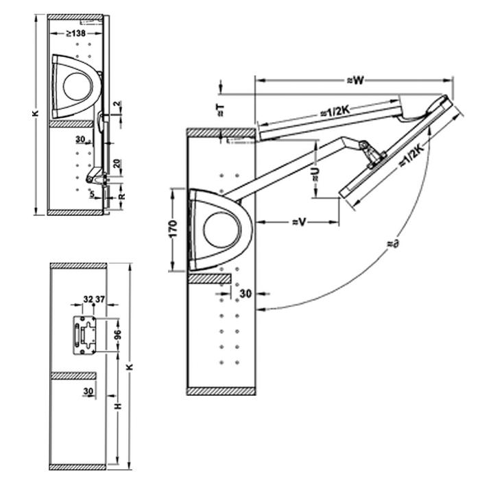 Braccetti per ante pieghevoli a ribalta peso da 5 a 9 senso fold hafele - Altezza porte finestre ...