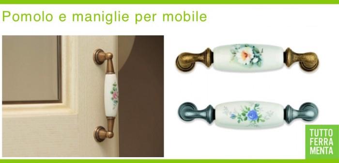 Maniglie per mobile in porcellana con decoro fiori le for Maniglie mobili bagno