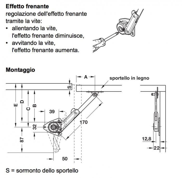 Braccetto snodato per ante a ribalta in legno serie h fele for Scheda tecnica anta ribalta giesse
