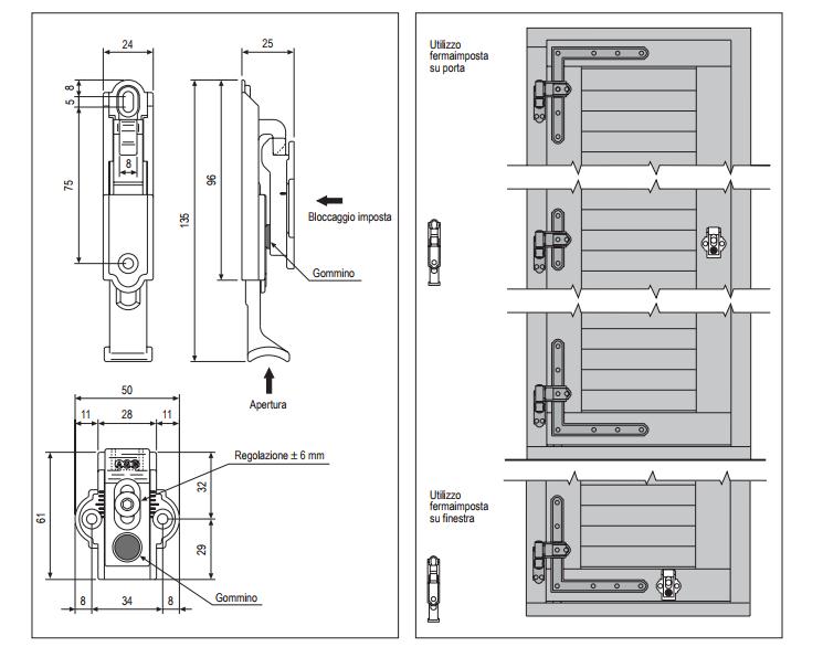 Agb fermaporte automatiche ferramenta per portefinestre - Scheda tecnica finestra ...
