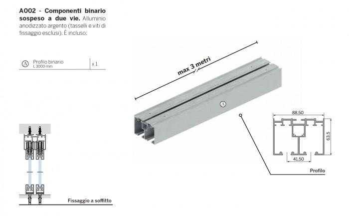 Kit componenti binario sospeso da 3000 mm fissaggio a for Scheda tecnica anta ribalta giesse