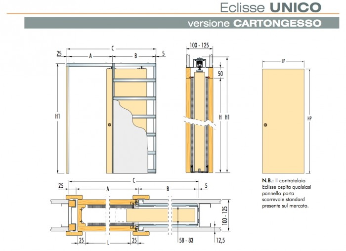 Eclisse Telai Porte Scorrevoli.Controtelai Per Cartongesso Eclisse Unico Montato O Da Assemblare