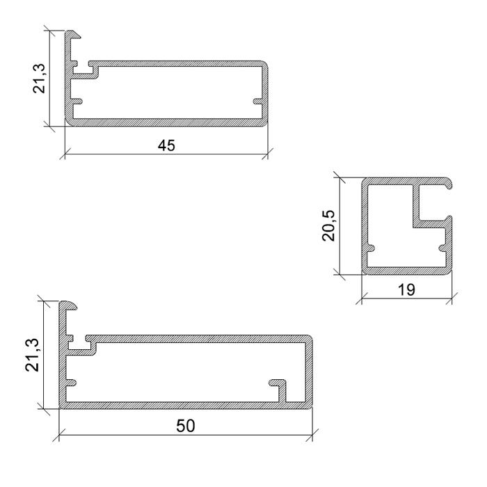 Profili in alluminio per ante e accessori per ante ...