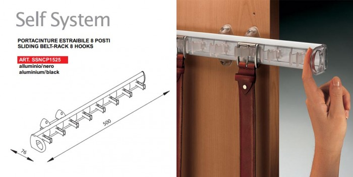 Portacinture estraibile accessori per armadio - Portacravatte per armadi ...