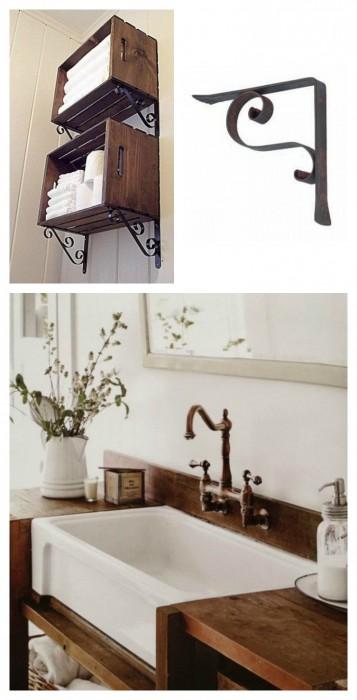 Top cucina ceramica: Mensole in ferro battuto per bagno